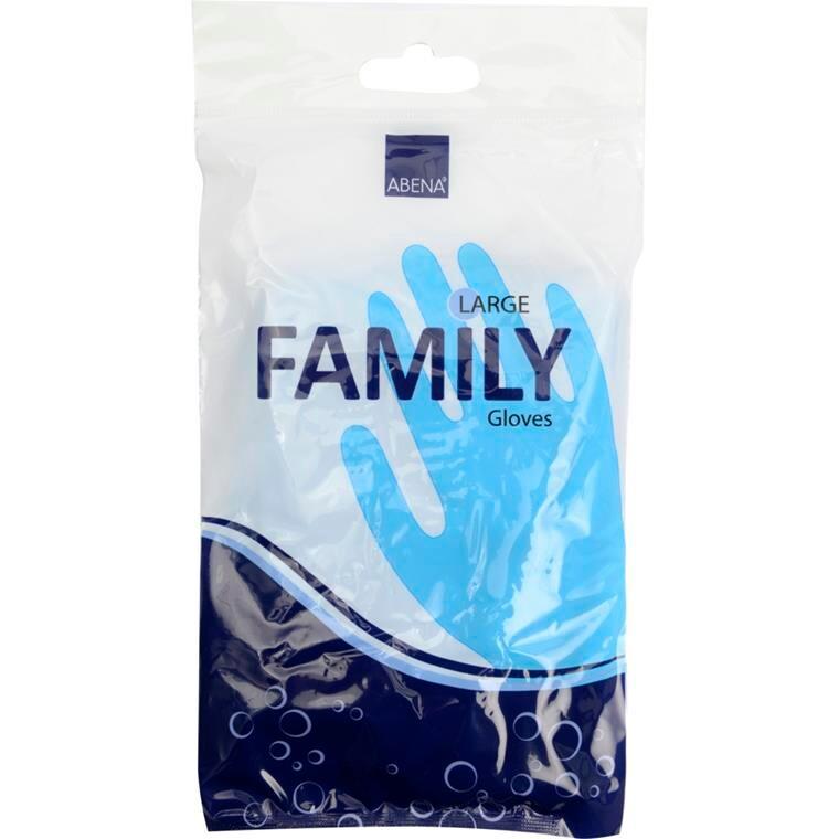 Abena Family Vinylhandske - Blå Husholdningshandske med velour - Størrelse Large