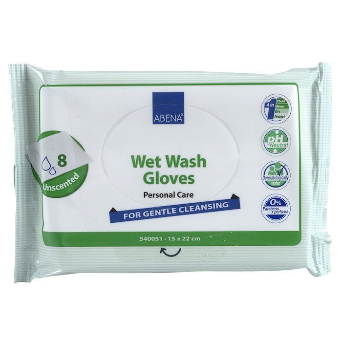 Abena Vådvaskehandske | Hvid engangshandske uden parfume | 8 stk