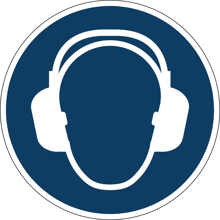 Advarselsklistermærke Anvend hørebeskyttelse Ø43cm 0,4mm blå/hvid
