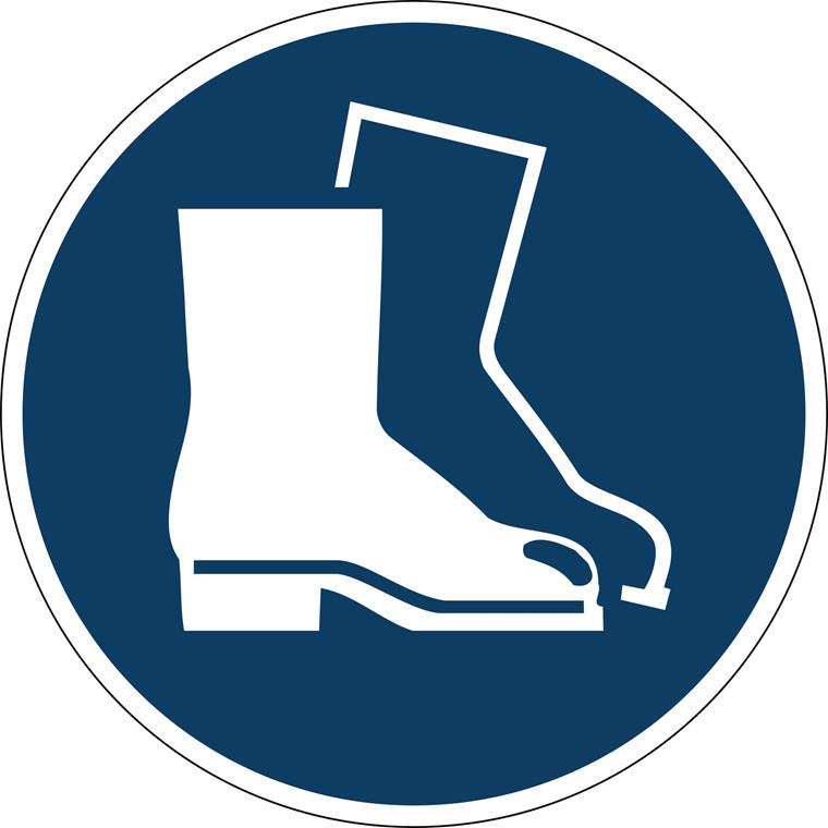 Advarselsklistermærke Anvend sikkerhedssko Ø43cm 0,4mm blå/hvid