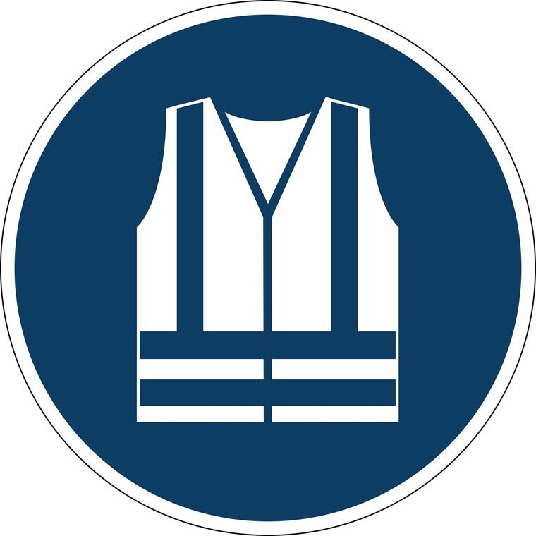 Advarselsklistermærke Anvend sikkerhedsvest Ø43cm 0,4mm blå/hvid
