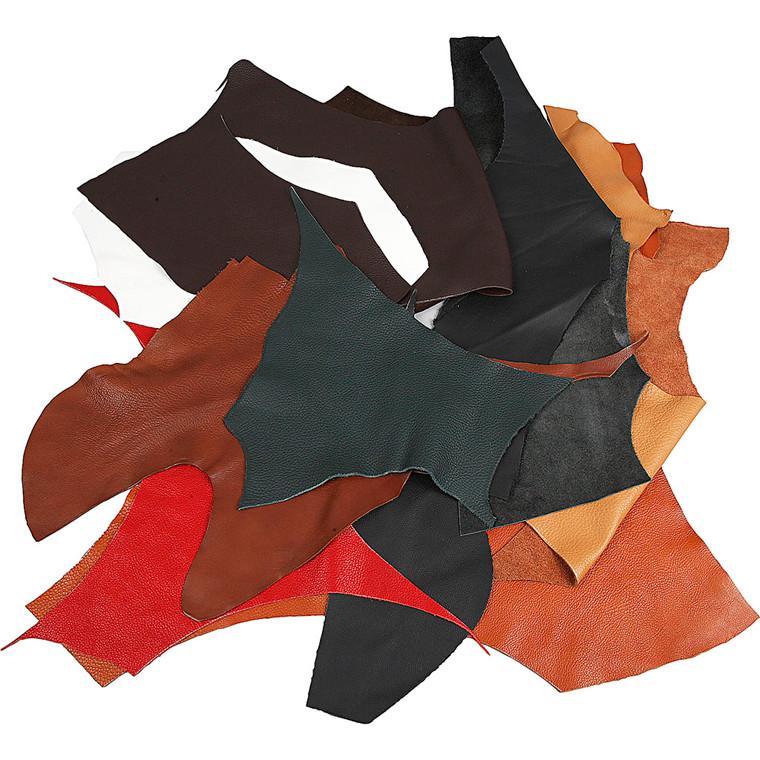 Ægte læder, ass. farver, 2 kg