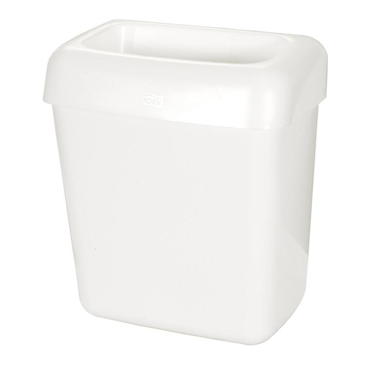 Affaldsbeholder, klar til væg- og jordmontering, hvid,