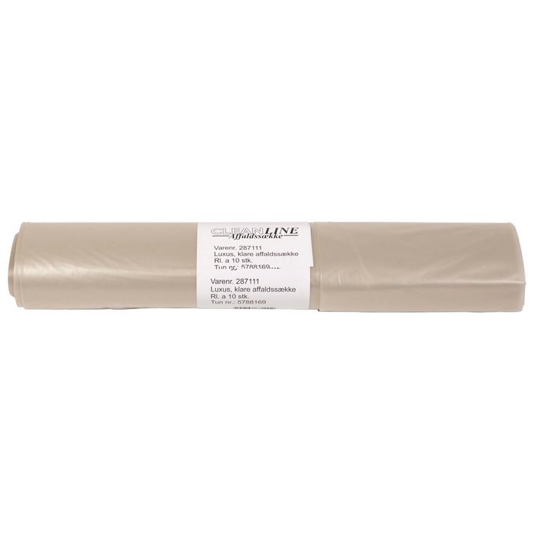 Luksus Affaldssække 100 Liter - Klar plastik 700 x 1100 mm - 1 rulle