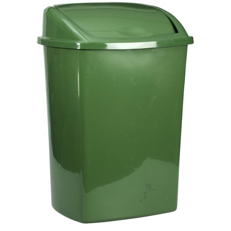 Affaldsspand, 20x25,2x33cm, 8 l, mørkegrøn, plast, sving låg