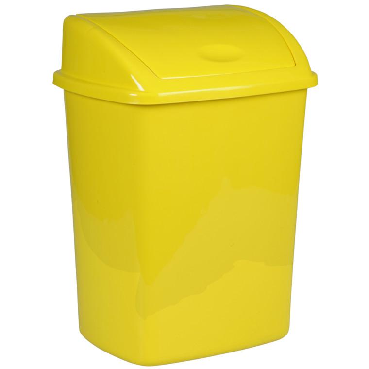 Affaldsspand, 23,5x30x40,5cm, 15 l, gul, plast, push låg