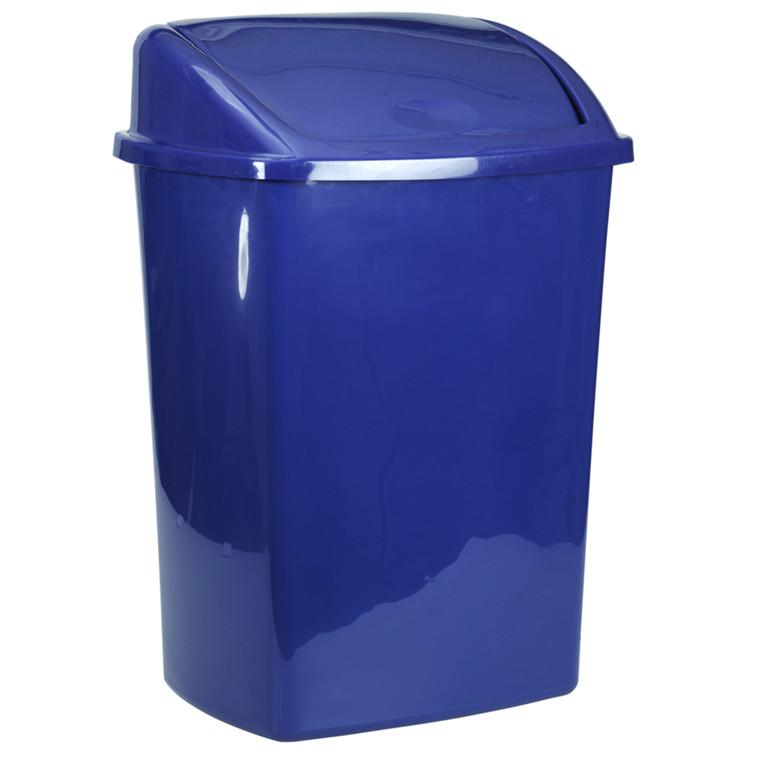 Affaldsspand, 30x40x75cm, 50 l, blå, plast, push låg