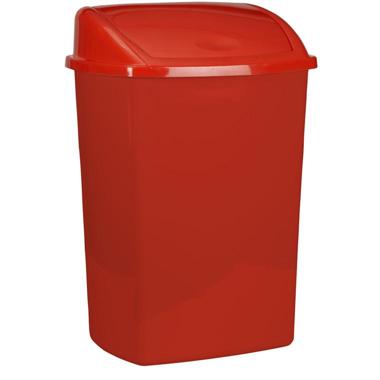 Affaldsspand, 30x40x75cm, 50 l, rød, plast, push låg