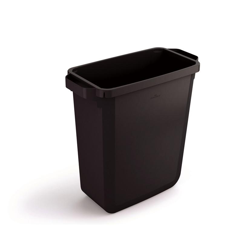 Durabin 60 Sort Affaldsspand 60 liter - Firkantet spand af genbrugsplast