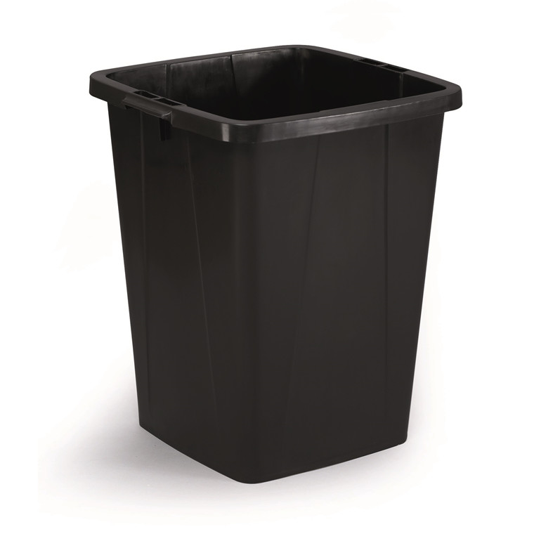 Durabin 90 Sort Affaldsspand 90 liter - Firkantet spand af genbrugsplast