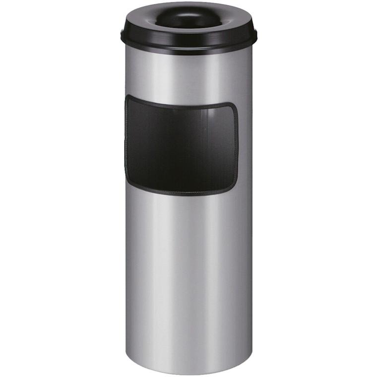 Affaldsspand, med askebæger, brandhæmmende, aluminium grå,