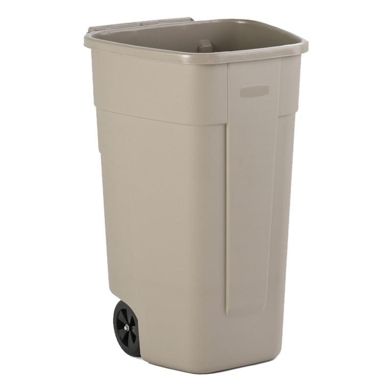 Affaldsspand, Rubbermaid, med 2 hjul, uden låg, mulighed for kildesortering, beige, 100 l