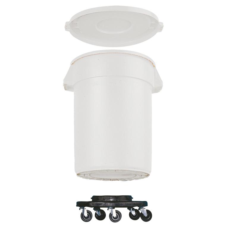 Affaldsspand, Rubbermaid, med hjul og låg, til kraftig belastning, hvid, 76 l