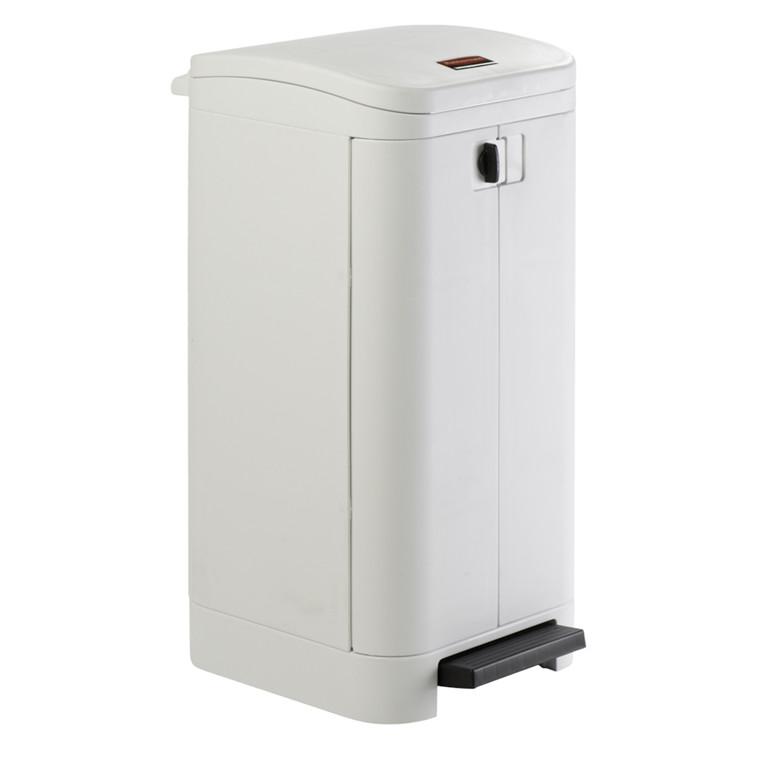 Affaldsspand, Rubbermaid, med sækkeholder og dæmpet lukkemekanisme, hvid, 100 l