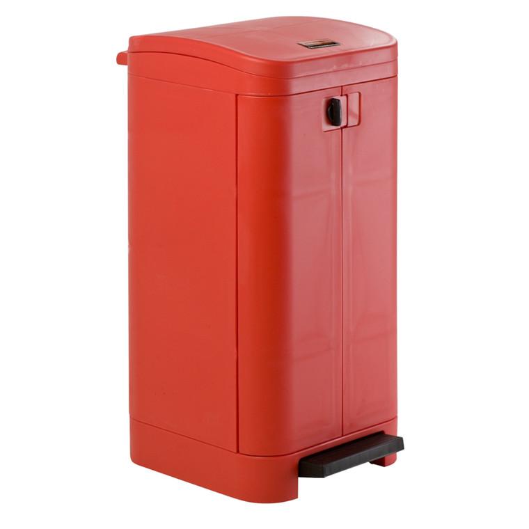 Affaldsspand, Rubbermaid, med sækkeholder og dæmpet lukkemekanisme, rød, 100 l
