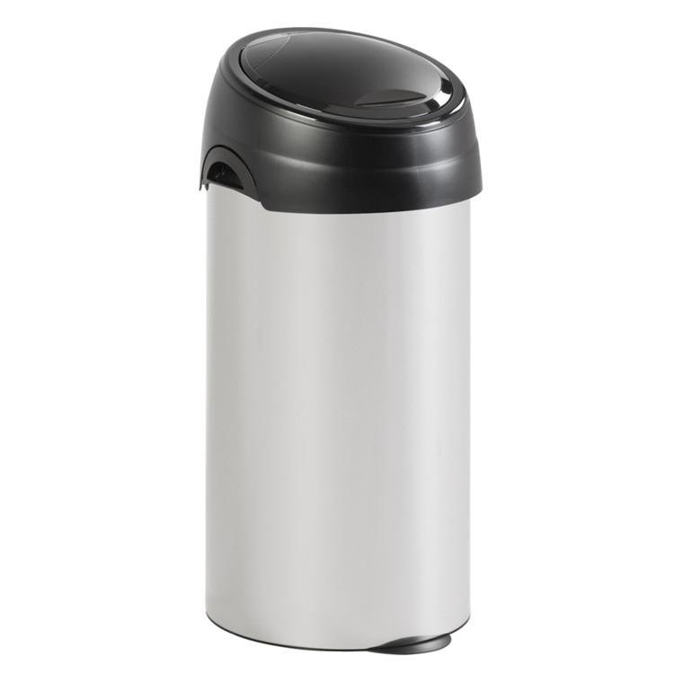 Affaldsspand, rund. sækkeholder, metallic og sort, 60 l