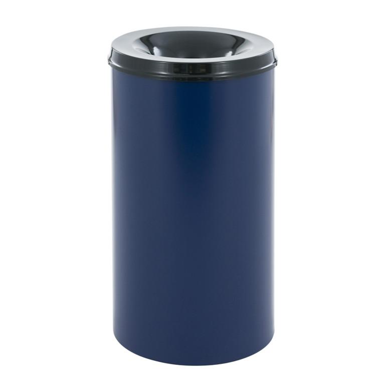 Affaldsspand, selvslukkende, blå og sort, 50 l