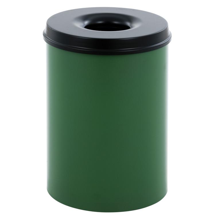 Affaldsspand, selvslukkende, grøn og sort, 30 l