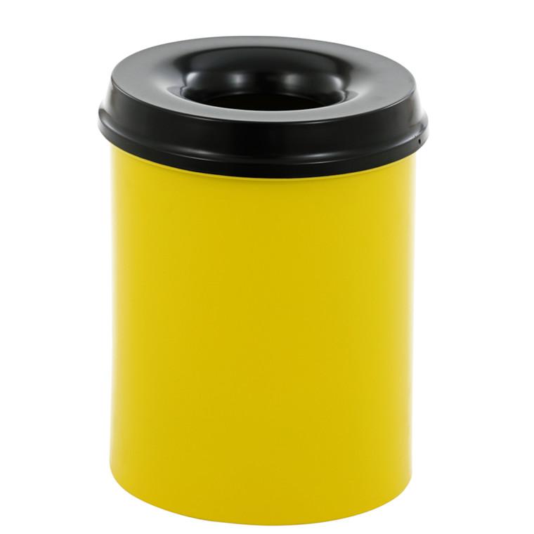 Affaldsspand, selvslukkende, gul og sort, 15 l