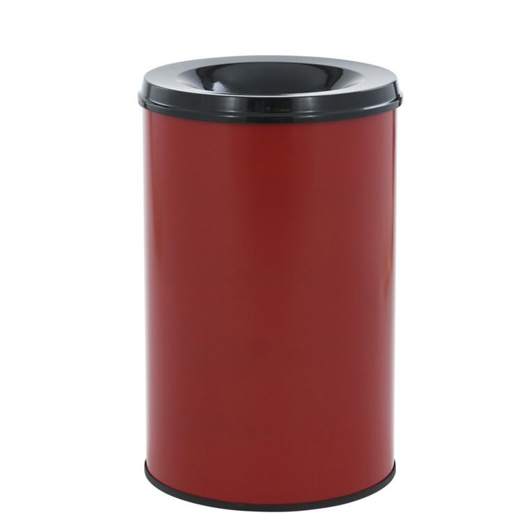 Affaldsspand, selvslukkende, rød og sort, 30 l
