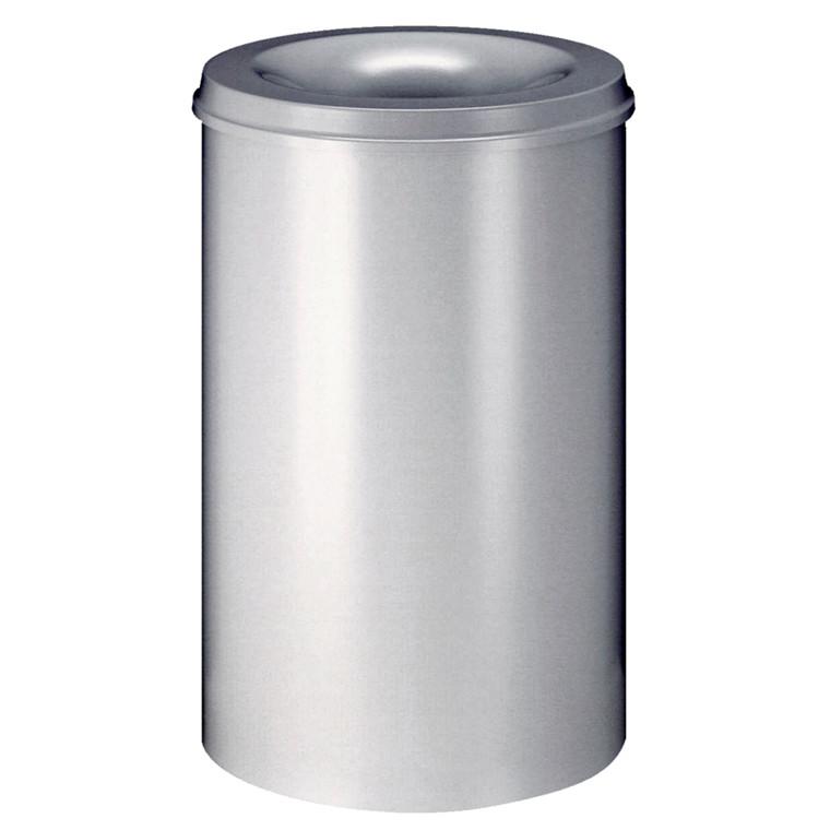 Affaldsspand, selvslukkende, sølv, 110 l