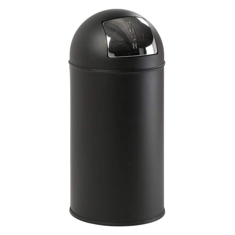 Affaldsspand, V-part, med push låg, inderspand i metal, brandsikker, Mat sort, 40 l