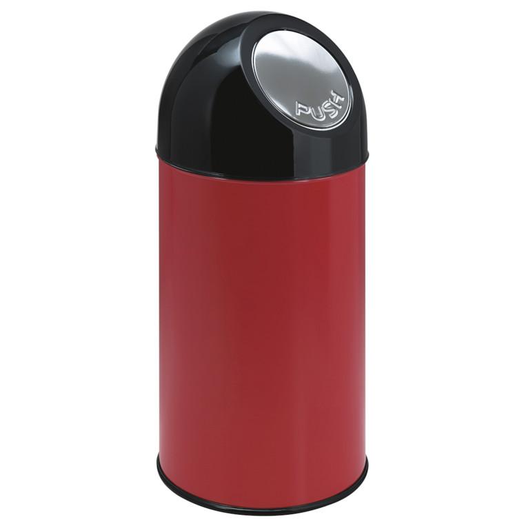 Affaldsspand, V-part, med push låg, inderspand i metal, brandsikker, rød og sort, 40 l
