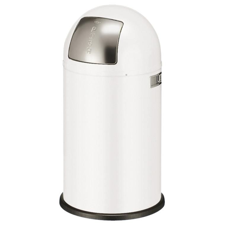 Affaldsspand, Wesco, med metal inderspand, brandsikker, hvid, 50 l