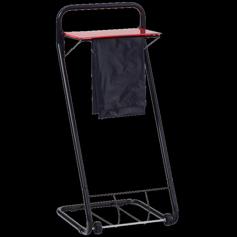 Katrin 99950 Black Line Bin - Gulvstativ til affaldssæk - Sort med rødt låg