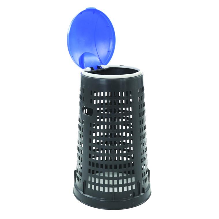 Affaldsstativ, med sækkeholder, til udendørs brug, sort og blå, 100 l