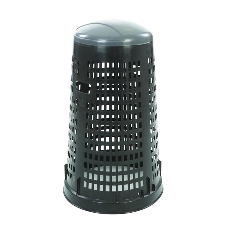 Affaldsstativ, med sækkeholder, til udendørs brug, sort og grå, 100 l