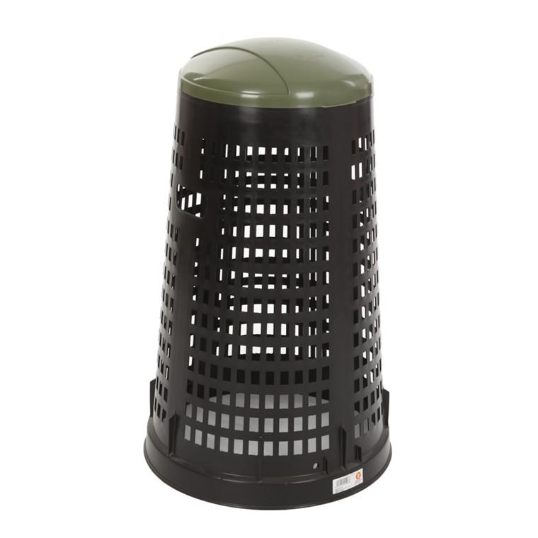 Affaldsstativ, med sækkeholder, til udendørs brug, sort og grøn, 100 l