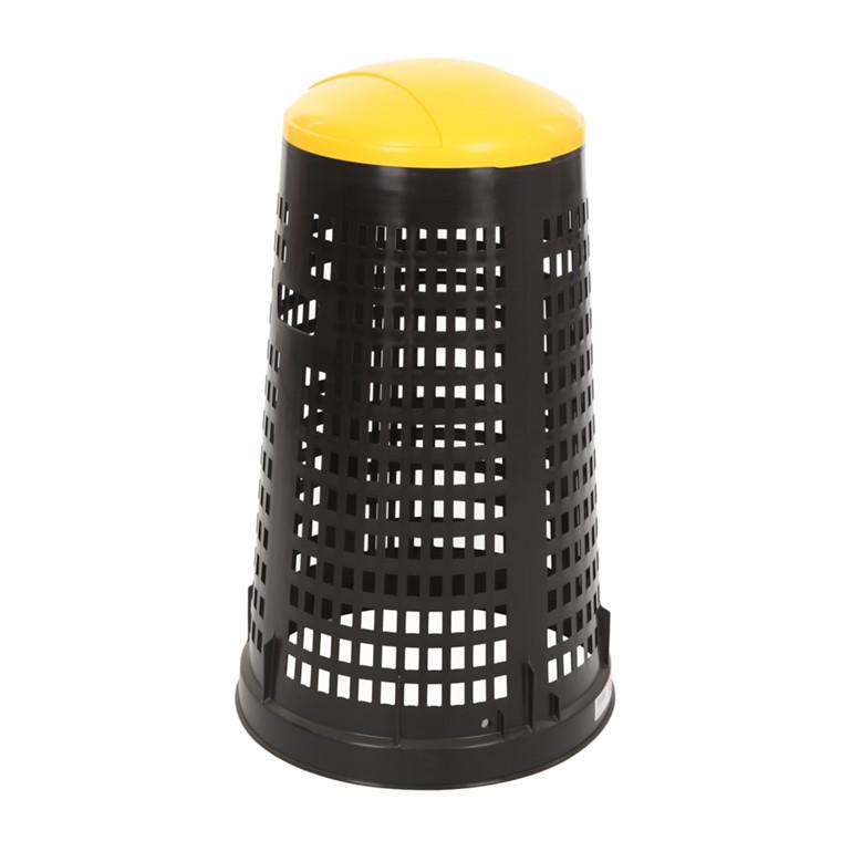 Affaldsstativ, med sækkeholder, til udendørs brug, sort og gul, 100 l