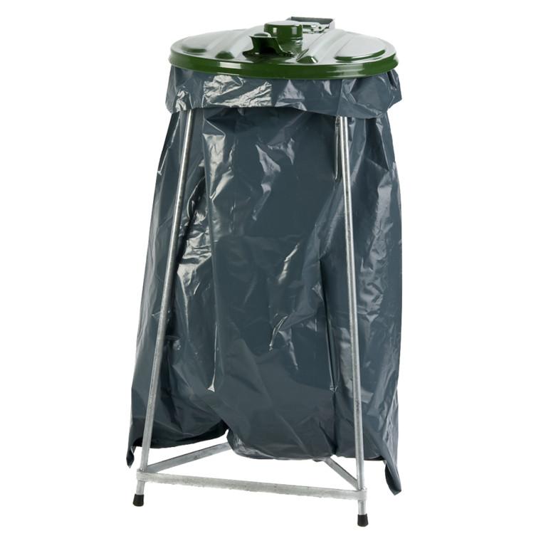 Affaldsstativ, sækkeholder, kildesortering mulig, galvaniseret og grøn, 110 l