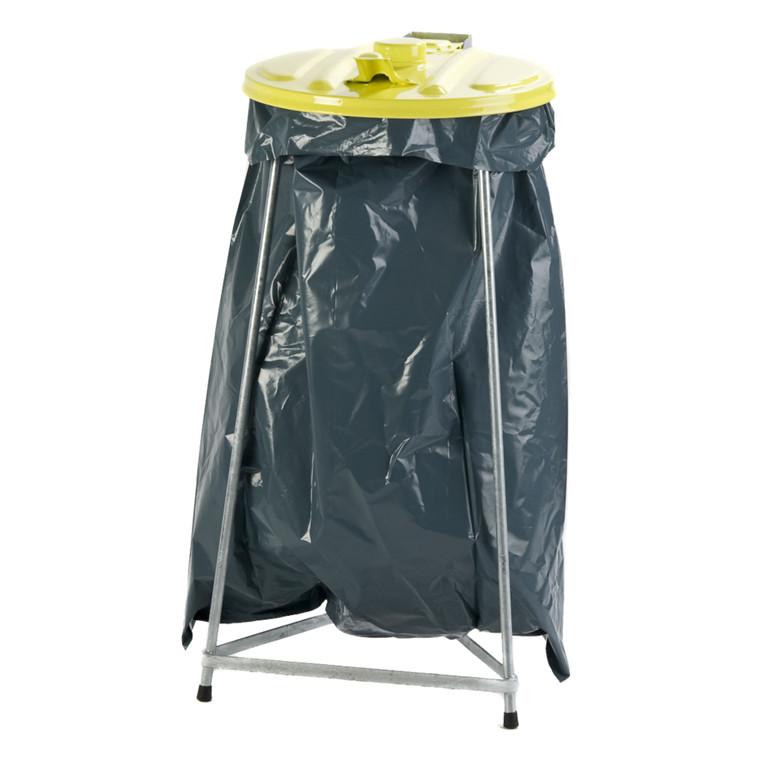 Affaldsstativ, sækkeholder, kildesortering mulig, galvaniseret og gul, 110 l