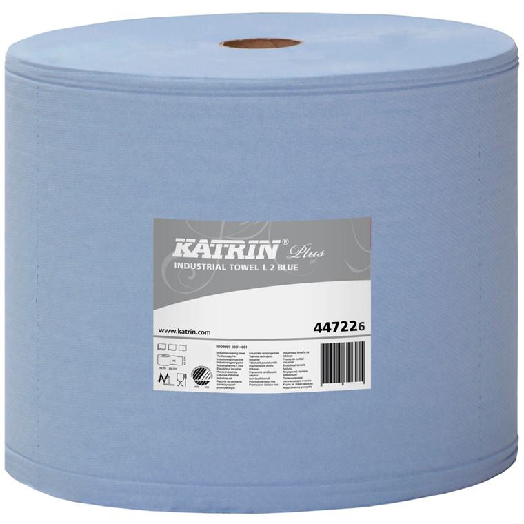 Katrin Plus 447226 L2 Blå industri-aftørringspapir 26 cm x 350 meter - 2 ruller