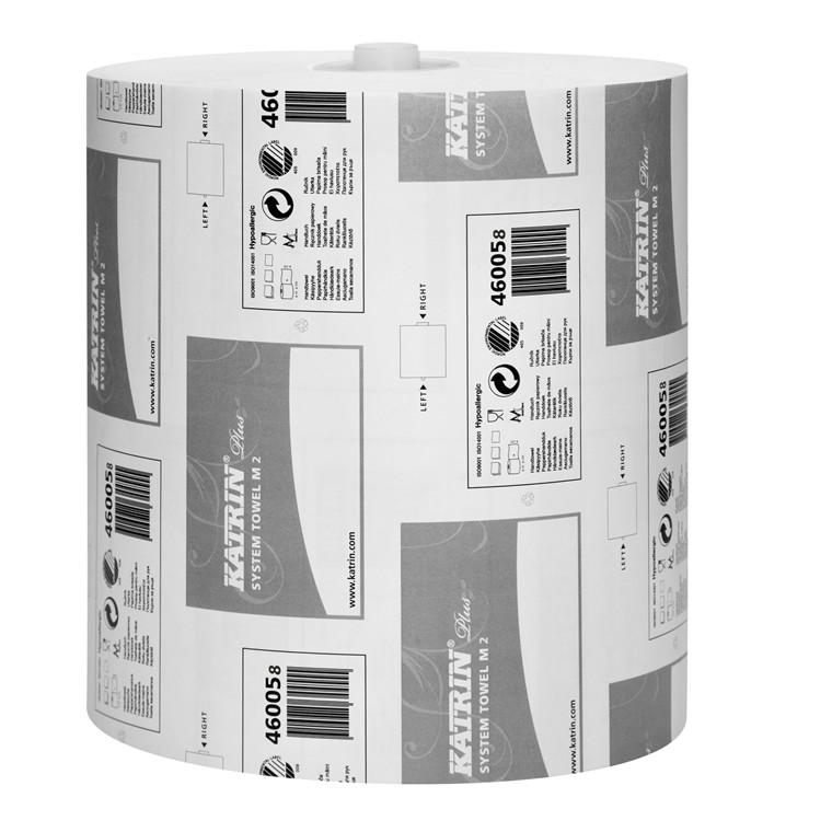 Aftørringspapir Katrin 460050 Plus System Towel M 2 lag 21 cm x 100 meter - 6 ruller