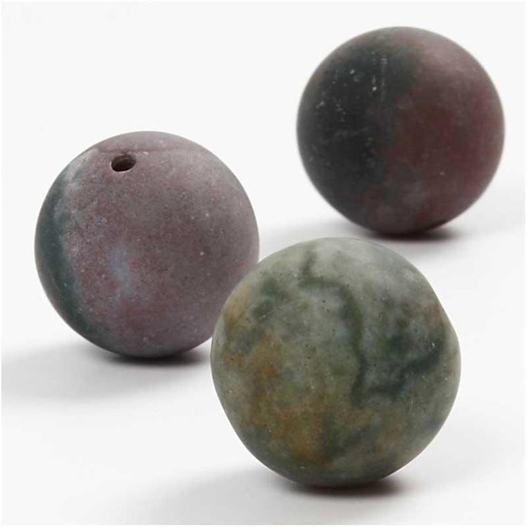 Agat perler, dia. 18 mm, hulstr. 1,5 mm, douche farver, slebet mat , 10stk.