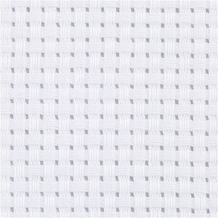 Aidastof, str. 50x50 cm, hvid, 35 tern pr. 10 cm, 1stk.