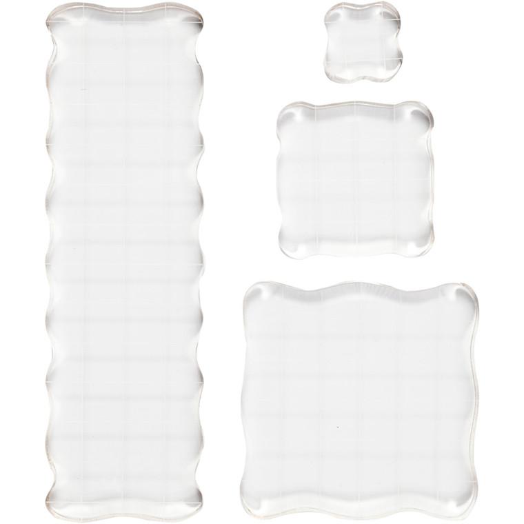 Akrylblokke, str. 2,5x2,5+5x5+7,6x7,6+5x16,5 cm, tykkelse 1 cm, 4stk.