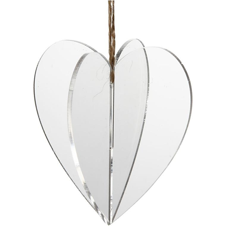 Akrylophæng størrelse 7,5 x 7,5 cm tykkelse 2 mm 3D hjerte   3 stk.