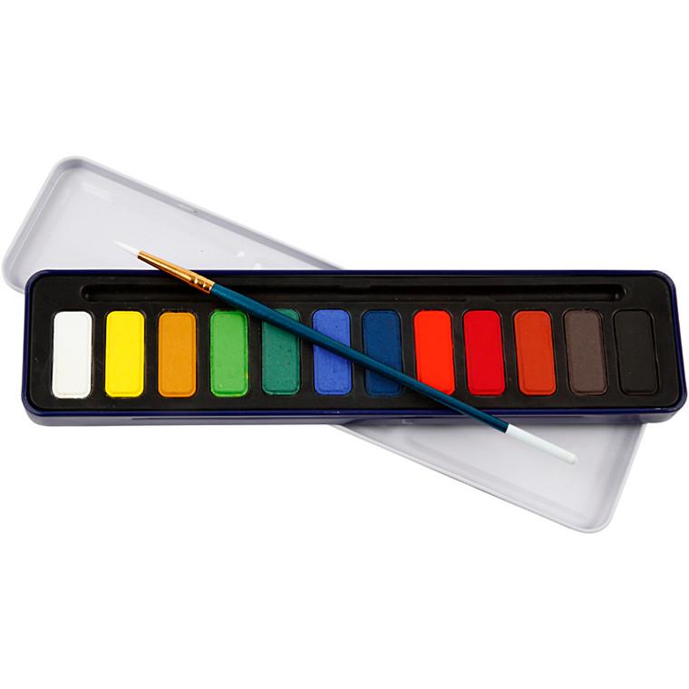 Akvarelsæt, ass. farver, 1sæt