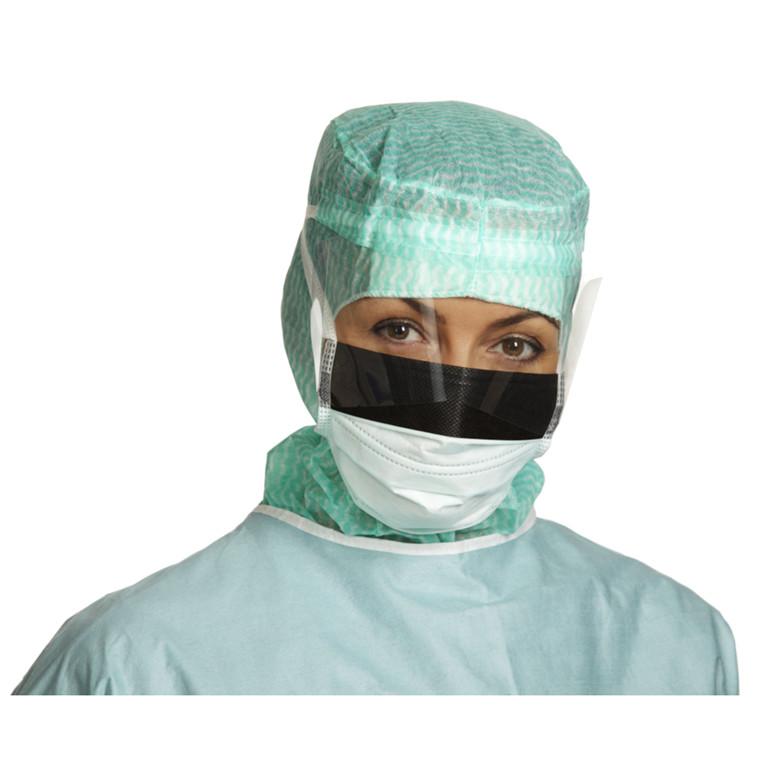 Ansigtsmaske, Barrier, 4-lags med bindebånd og visir, Type II, grøn,