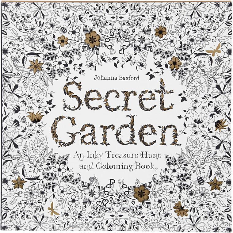 Antistress malebog, str. 25x25 cm, 96 sider, Secret Garden, 1stk.
