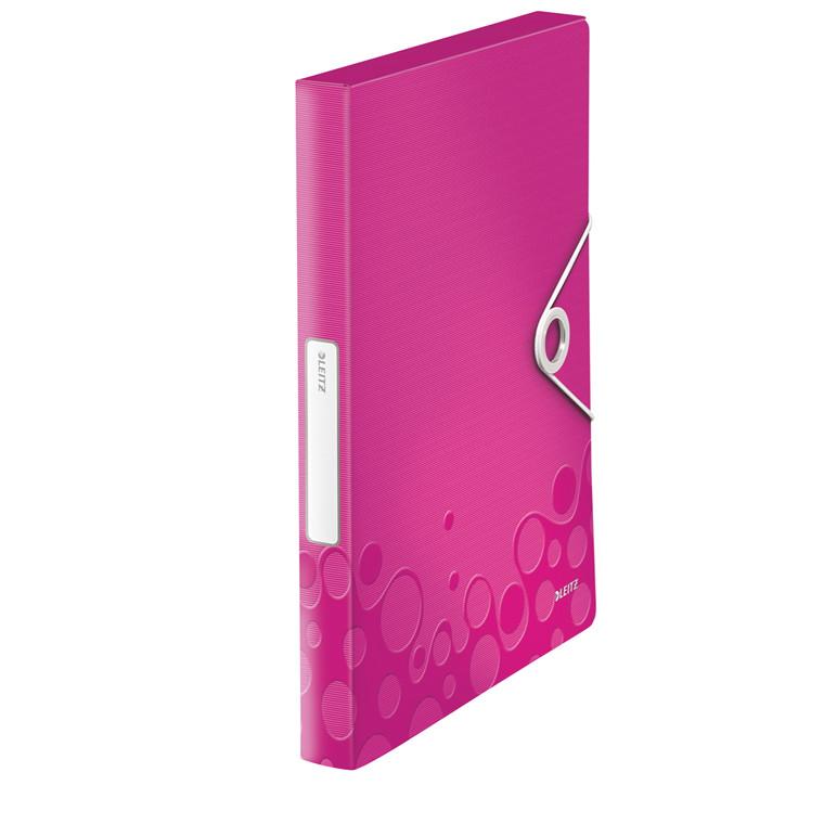 A4 arkivmappe med elastik og 30 mm ryg Leitz WOW pink | 46290023