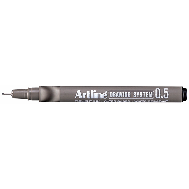 Artline EK235 Drawingpen - Sort farve med 0,5 mm stregbredde