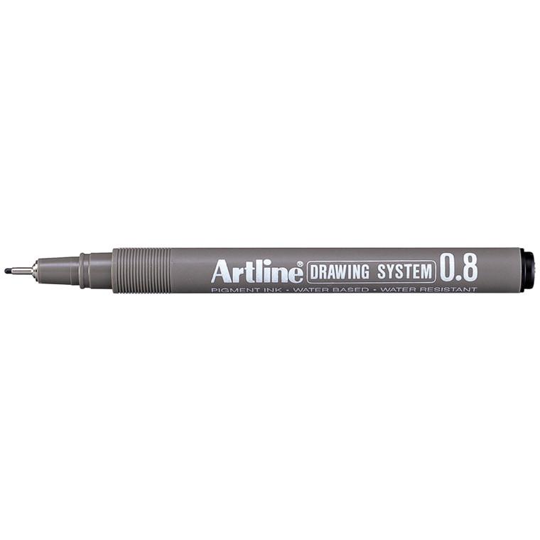 Artline EK238 Drawingpen - Sort farve med 0,8 mm stregbredde