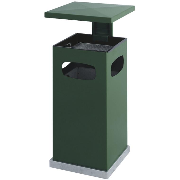 Askebæger, V-part, Inderspand i metal, brandsikker, grøn, 90 l