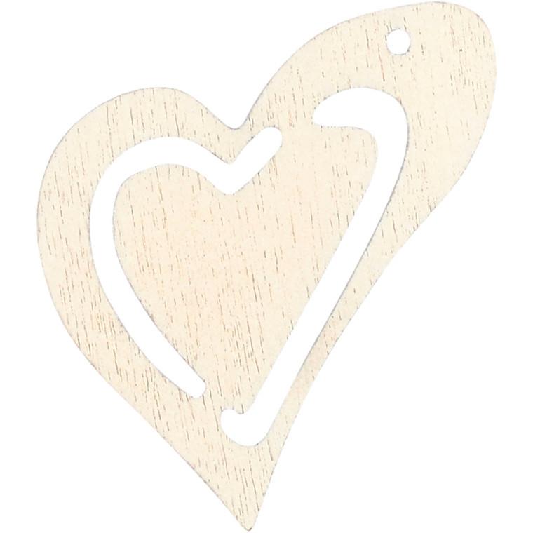 Asymmetrisk hjerte, str. 25x22 mm, tykkelse 1,7 mm, hvid, 20stk.