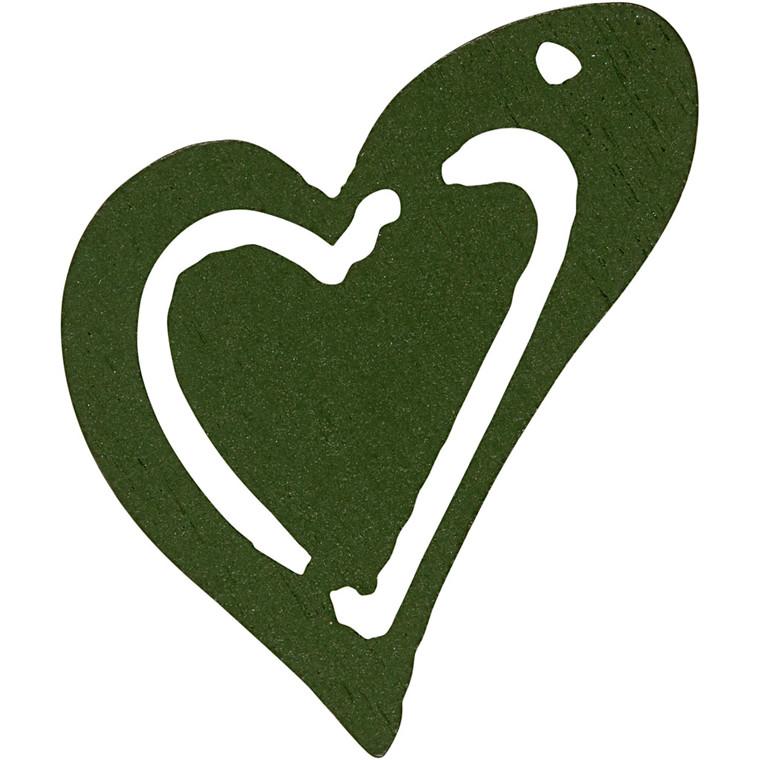 Asymmetrisk hjerte, str. 25x22 mm, tykkelse 1,7 mm, mørk grøn, 20stk.